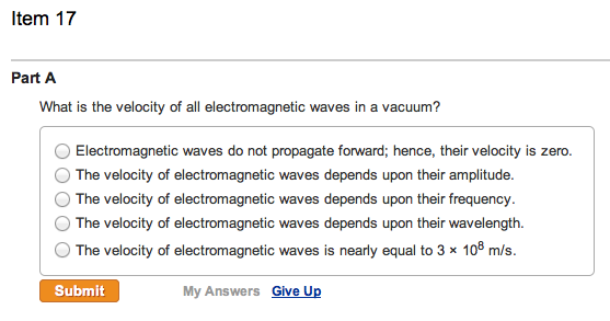 Solved What Is The Velocity Of All Electromagnetic Waves border=