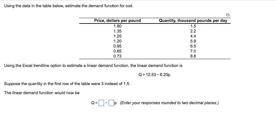 Using The Data In Table Below Estimate Demand Function For Cod Quantity