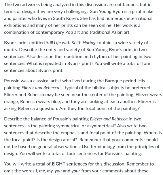 The Two Artworks Being Analyzed In This Discussion Chegg Com
