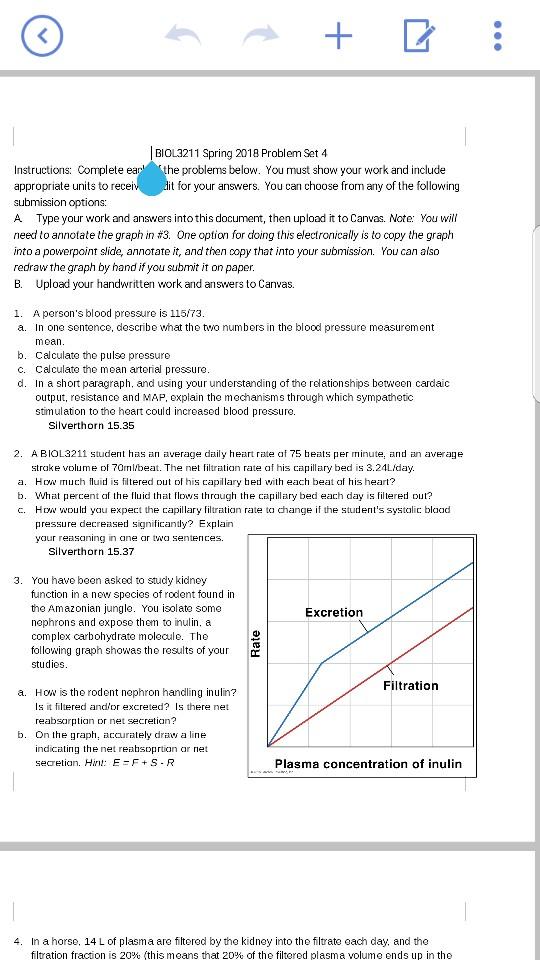 Biol3211 Spring 2018 Problem Set 4 Instructions C Chegg