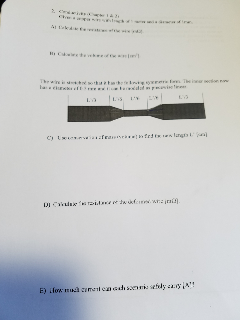 Solved: 2. Conductivity (Chapter 1 & 2) Given A Copper Wir ...