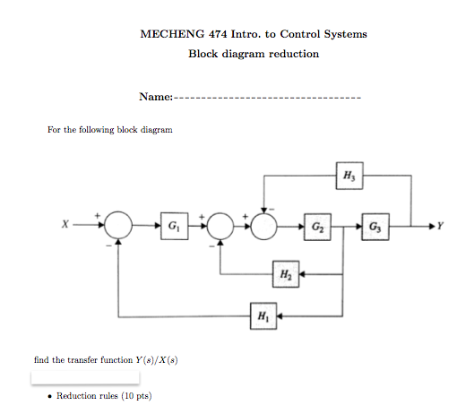 mecheng 474 intro  to control systems block diagram reduction  name for the  following block