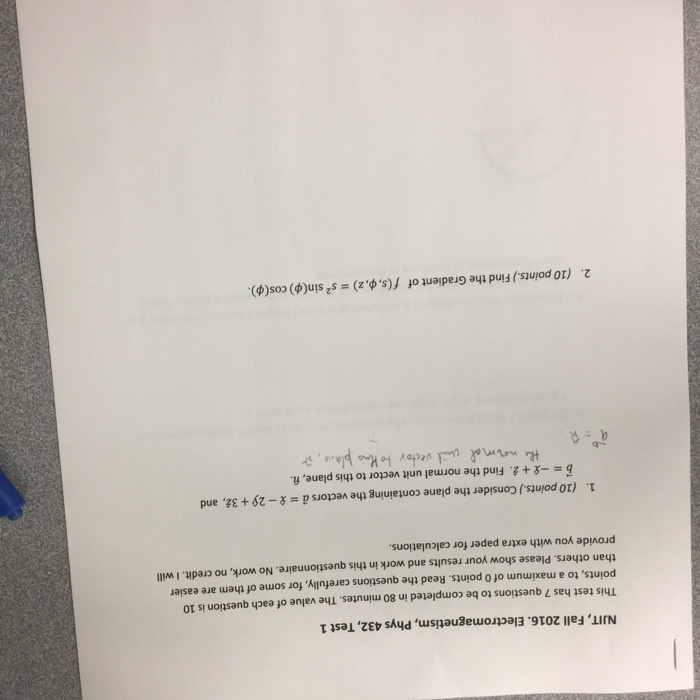 Solved: NJIT, Fall 2016  Electromagnetism, Phys 432, Test