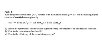 Solved: Prob  2 In An Amplitude Modulation (AM) Scheme Wit