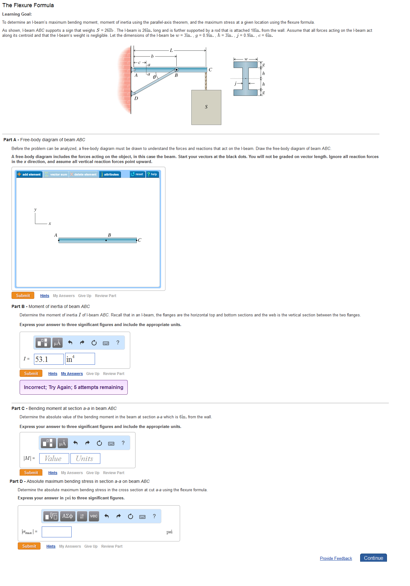 Solved: To Determine An I-beam❝s Maximum Bending Moment, M