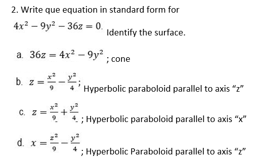Solved 2 Write Que Equation In Standard Form For 4x2 9y