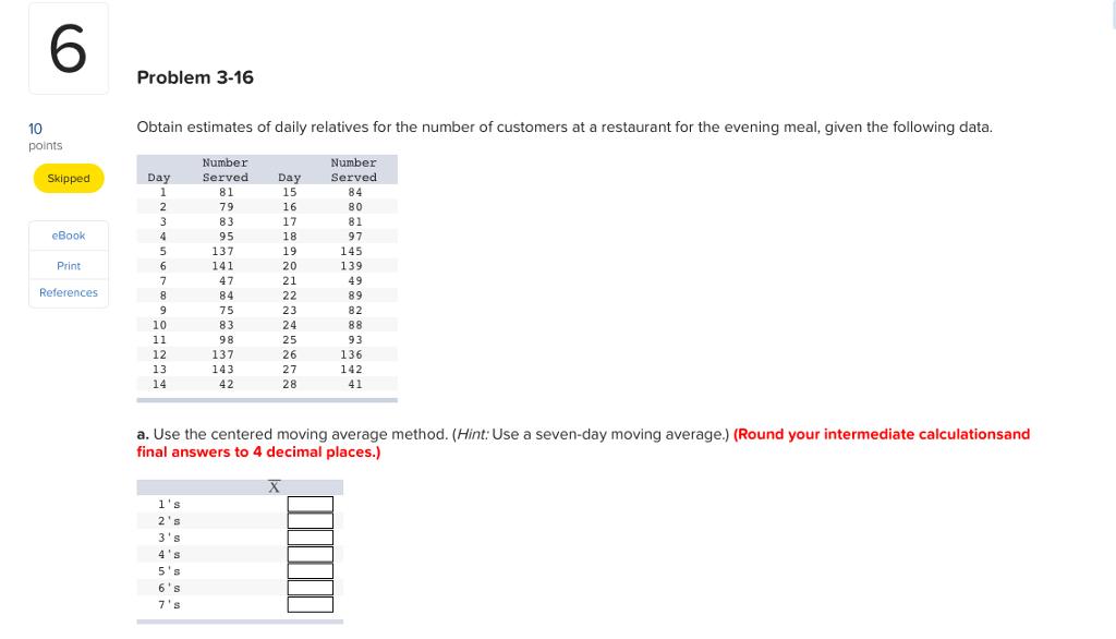 solved: 6 problem 3-16 10 obtain estimates of daily relati