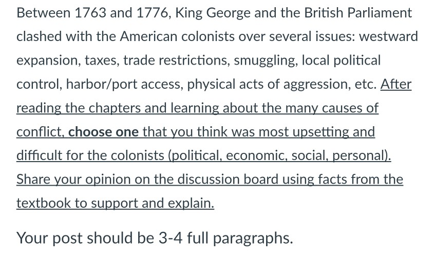 the reactions of the colonists to englands actions between 1763 and 1774 1 chapter 5 outline - severing the bonds of empire, 1754-1774 • i introduction an ever-widening split developed between america and england the seven years war played an important role in events, because the.