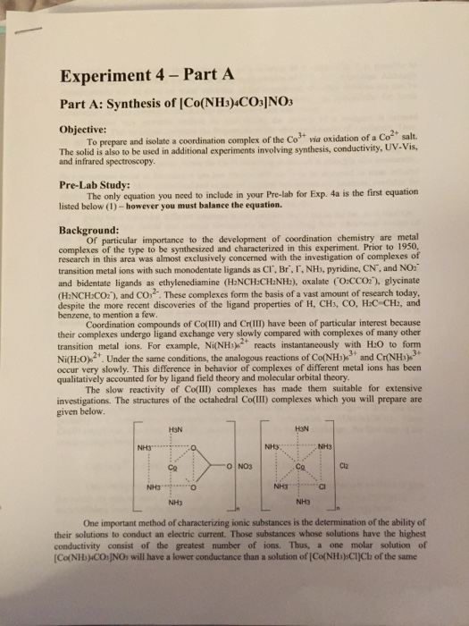 Solved: This Experiment Pertains To A Inorganic Chemistry