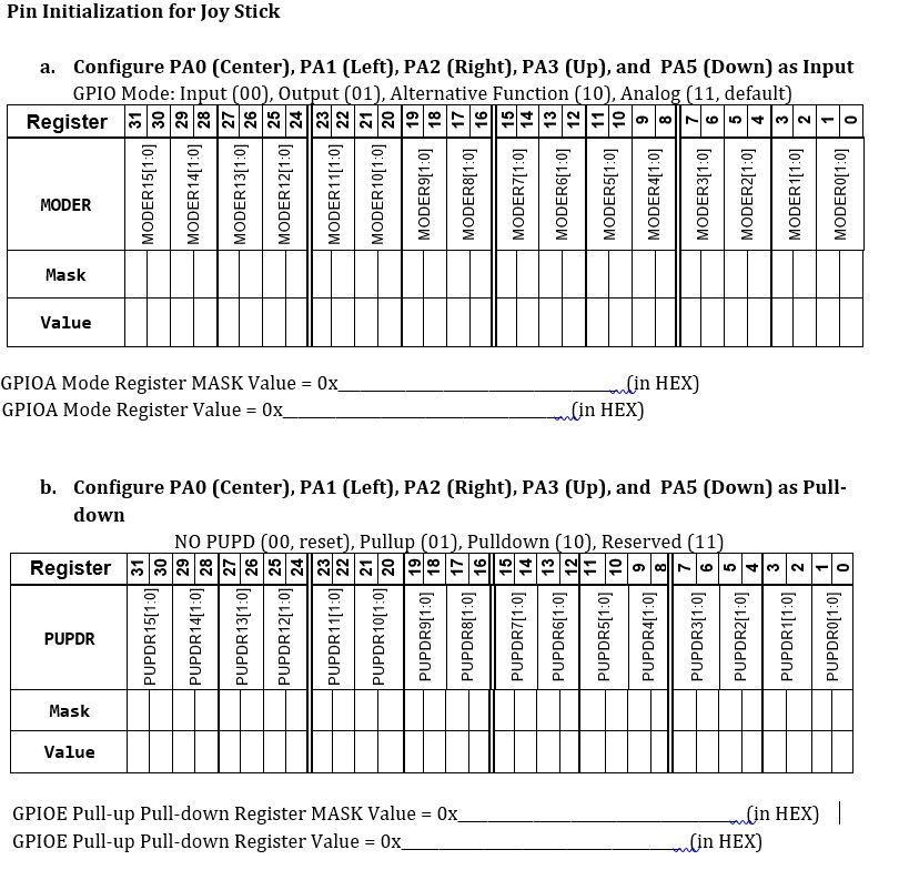 Pin Initialization For Joy Stick Configure PA0 (Ce    | Chegg com