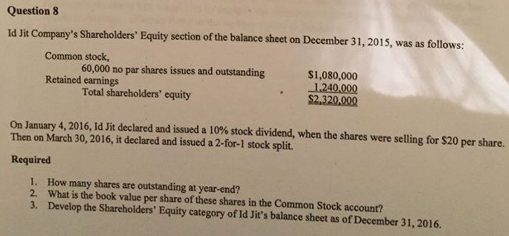 stockholders equity portion essay Shareholders' equity refers to the residual claim on assets attributed to  the  company will recognize the equity component of the security as.