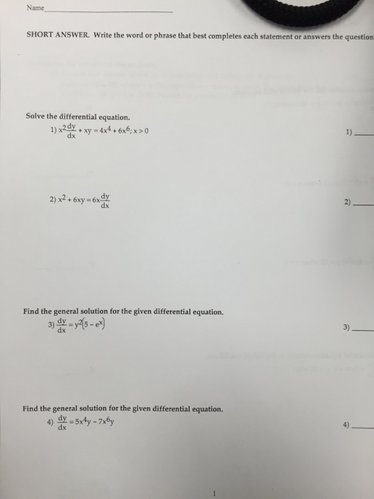 Solved: Solve The Differential Equation  1) Times 2 Dy/dx