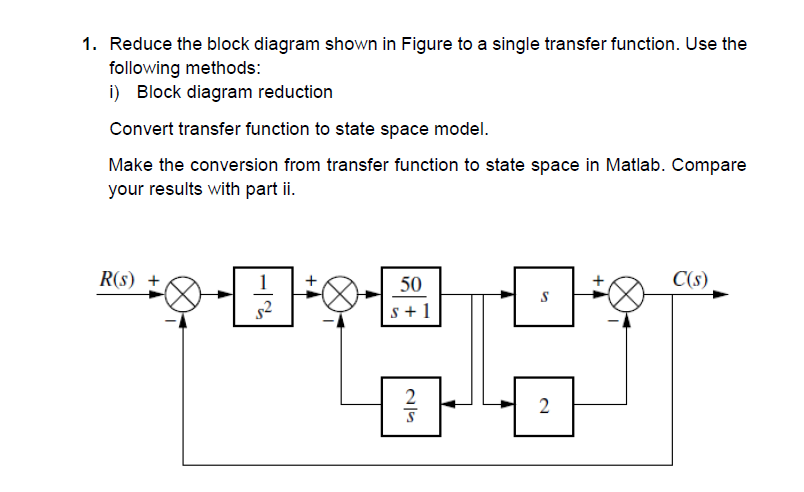 Solved  1  Reduce The Block Diagram Shown In Figure To A S