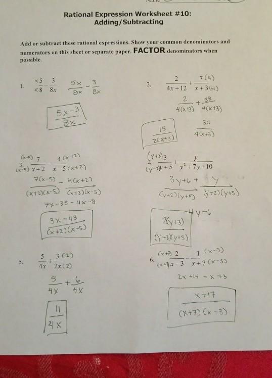 Solved: Rational Expression Worksheet #10: Adding/Subtract ...