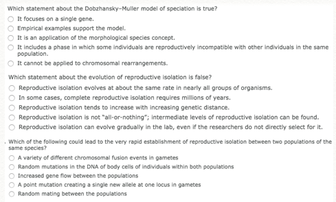 Biology archive january 29 2017 chegg which statement about the dobzhansky muller model of speciation is true it focuses on a single gene empirical examples support the model fandeluxe Gallery