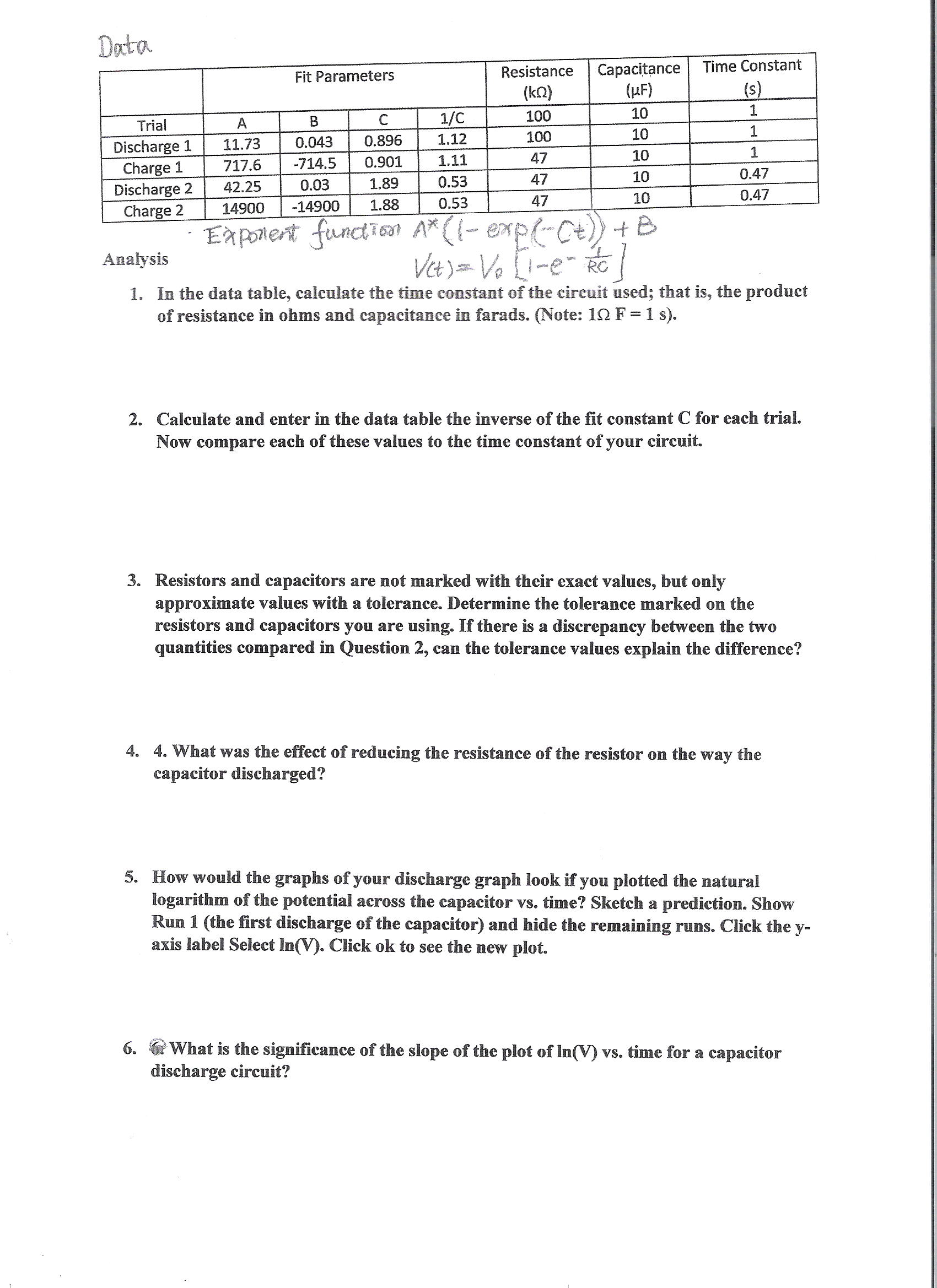 Exponent Function Ax1 Exp Et B Vt V Resistors And Capacitors In A Circuit Capacitor Question 1 E Rc The Data Table Calculate