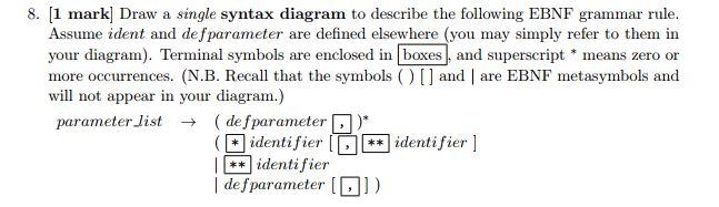 Solved 8 1 Mark Draw A Single Syntax Diagram To Descri