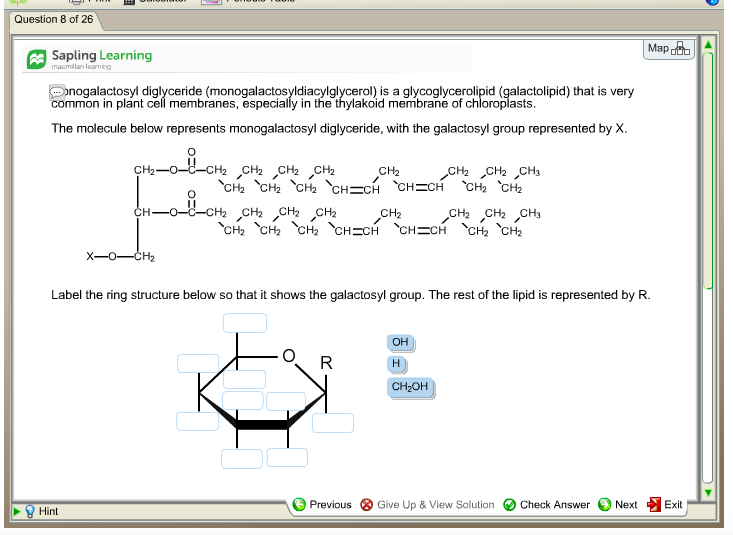 Solved: Monogalactosyl Diglyceride (monogalactosyldiacylgl ...  Solved: Monogal...