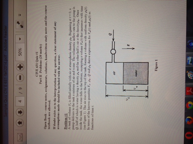 Solved: Fluid Mechanics Problem: A Tank Of Volume Vo, Is F