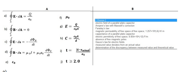 Solved: Please Match The Most Relevant Physical Constant