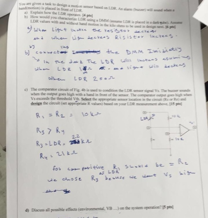 Solved: You Are Given A Task To Desigs A Moion Senso Esed ...