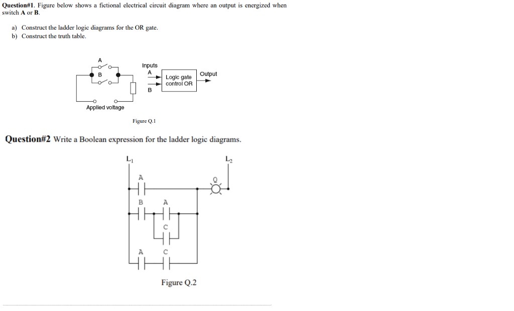 figure below shows a fictional electrical circuit diagram where an output is