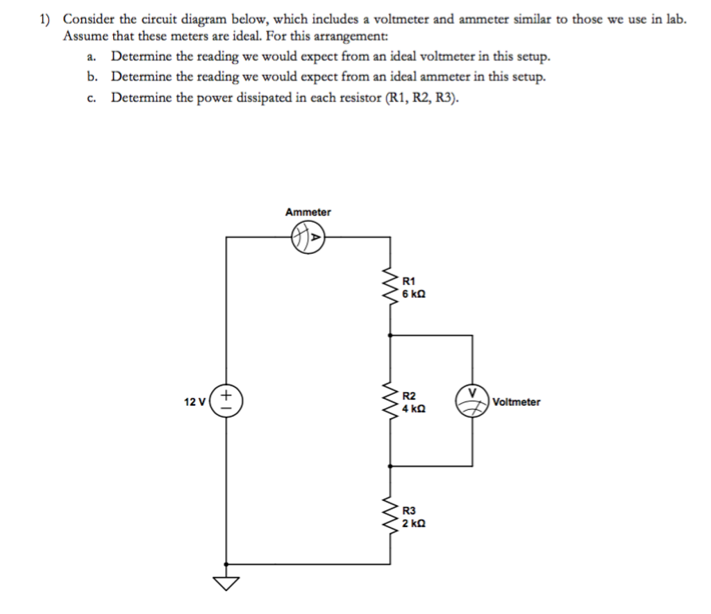 Consider the circuit diagram below, which includes