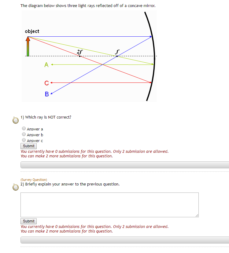 Solved The Diagram Below Shows Three Light Rays Reflected