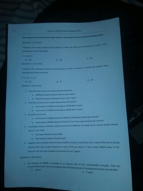 Solved: Business Mathematics Assignment #1 Depreciation  I