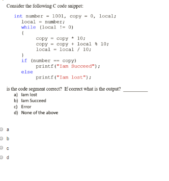 Solved: Consider The Following C Code Snippet Int Number 1