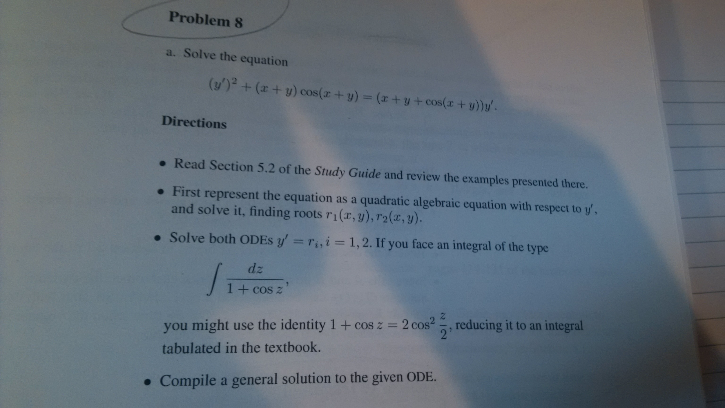 Solved: Solve The Equation (Y\')2 + (x + Y) Cos(x + Y) = (x ...