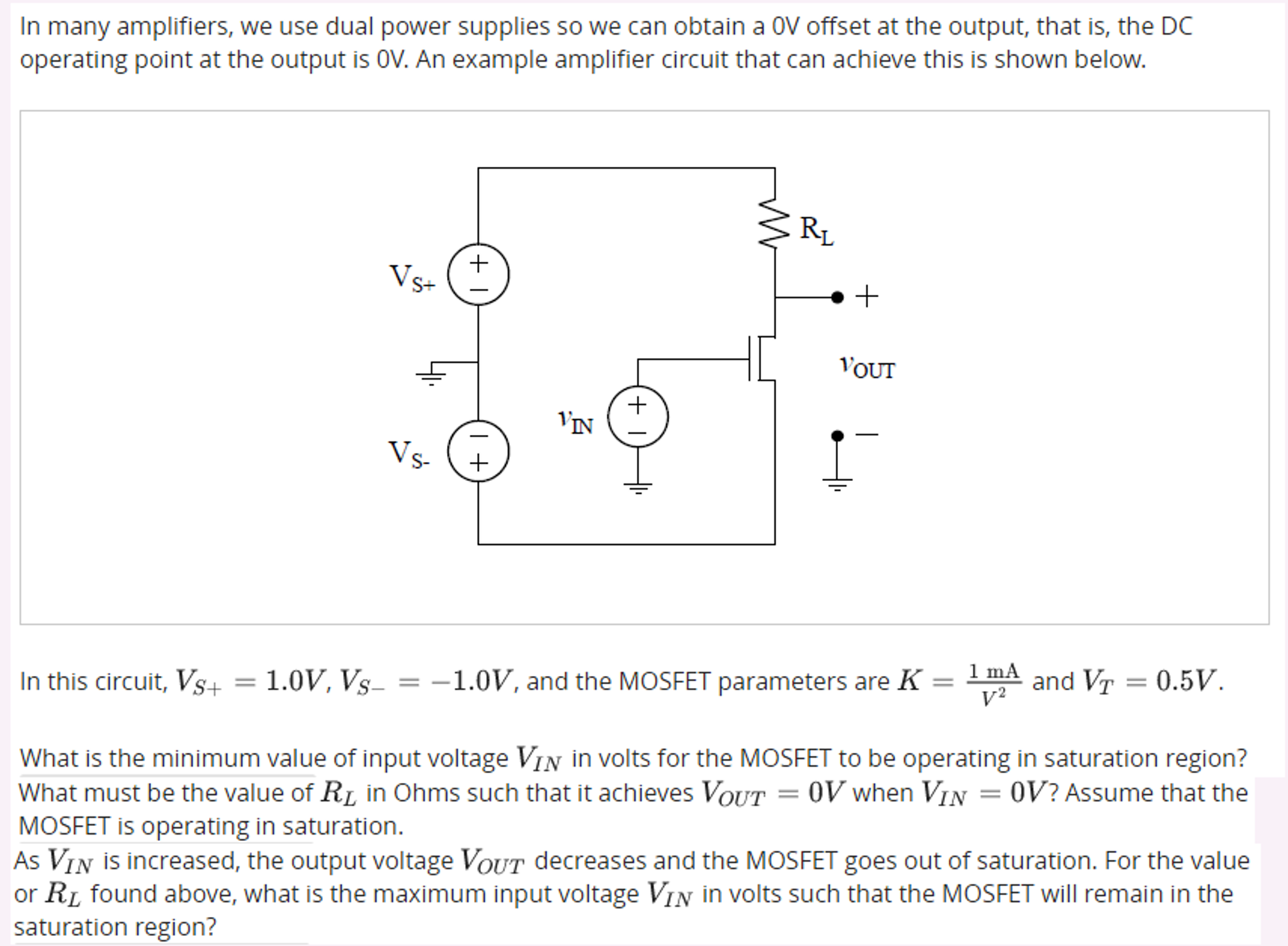 Solved In Many Amplifiers We Use Dual Power Supplies So Circuit Diagram Of Supply Can Obtain A 0v Offset