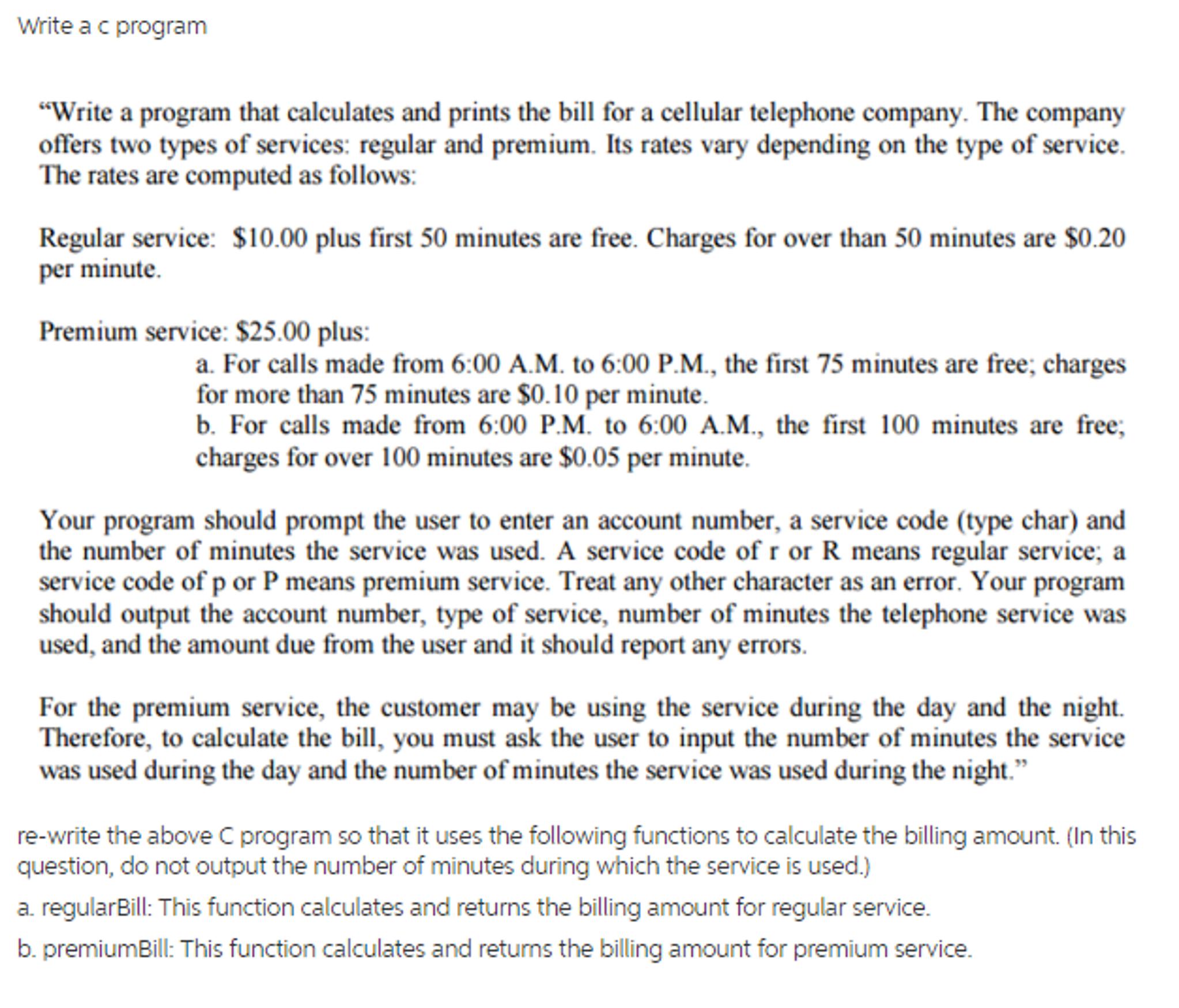solved write a c program write a program that calculates