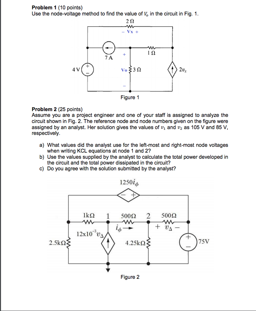 Solved Problem 1 10 Points Use The Node Voltage Method Wiring Diagram Is Used To Troubleshoot Problems And Make Sure Find Value