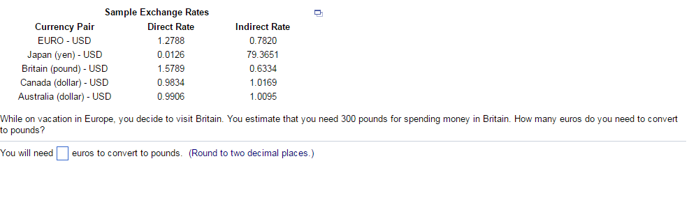 Question While On Vacation In Europe You Decide To Visit Britain Estimate That Need 300 Pounds F