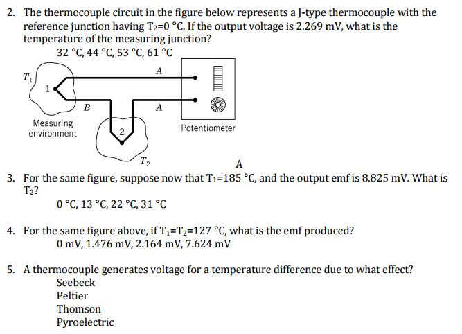 Solved: The Thermocouple Circuit In The Figure Below Repre