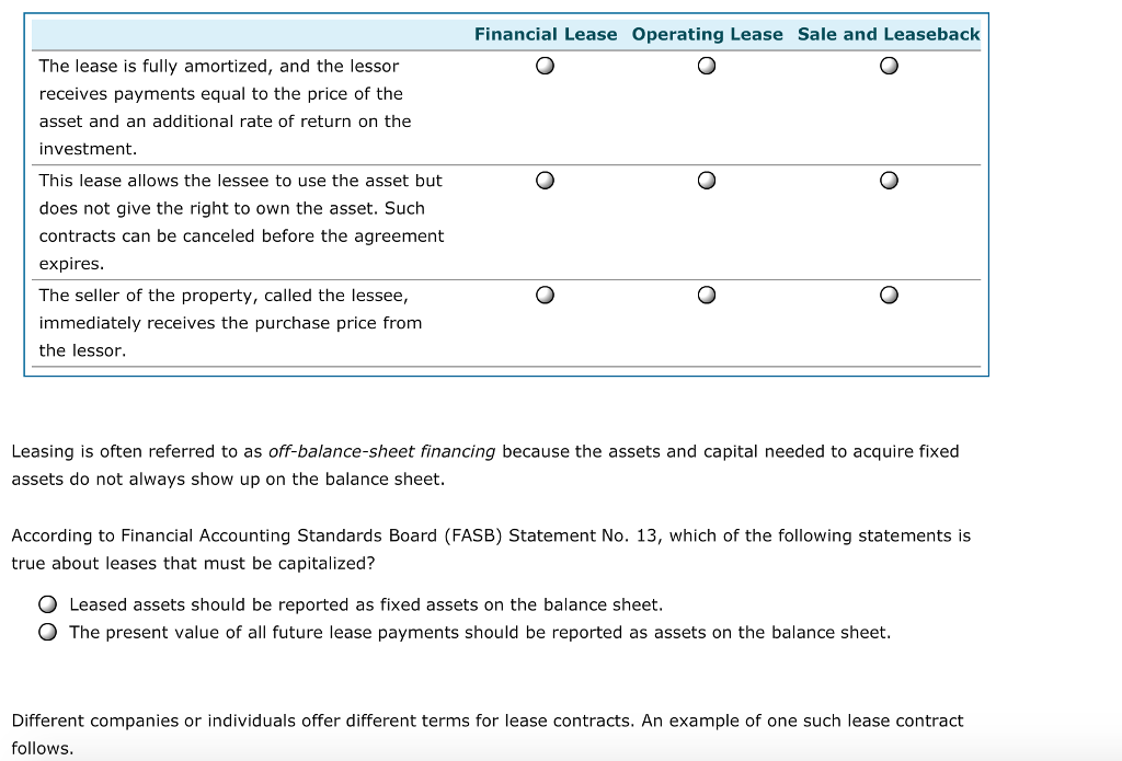 Solved 1 Leases And Financial Statements A Lease Is An A