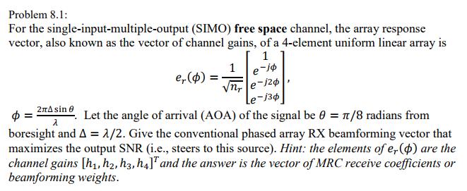 Problem 8 1: For The Single-input-multiple-output     | Chegg com