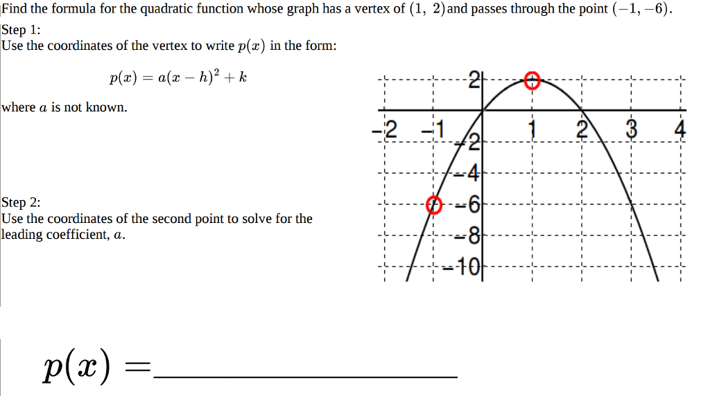 Solved Find The Formula For The Quadratic Function Whose