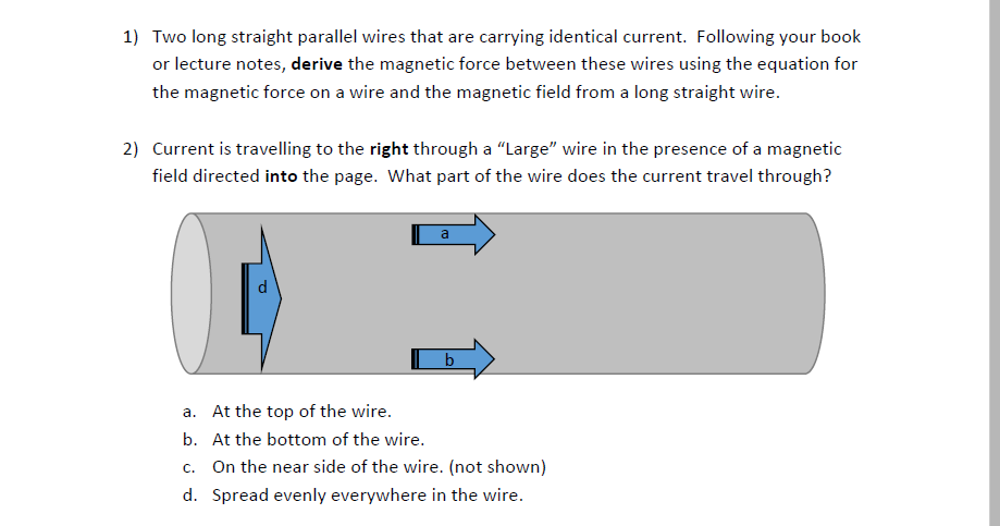 solved two long straight parallel wires that are carrying rh chegg com
