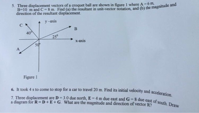 Solved Three Displacement Vectors Of A Croquet Ball Are S