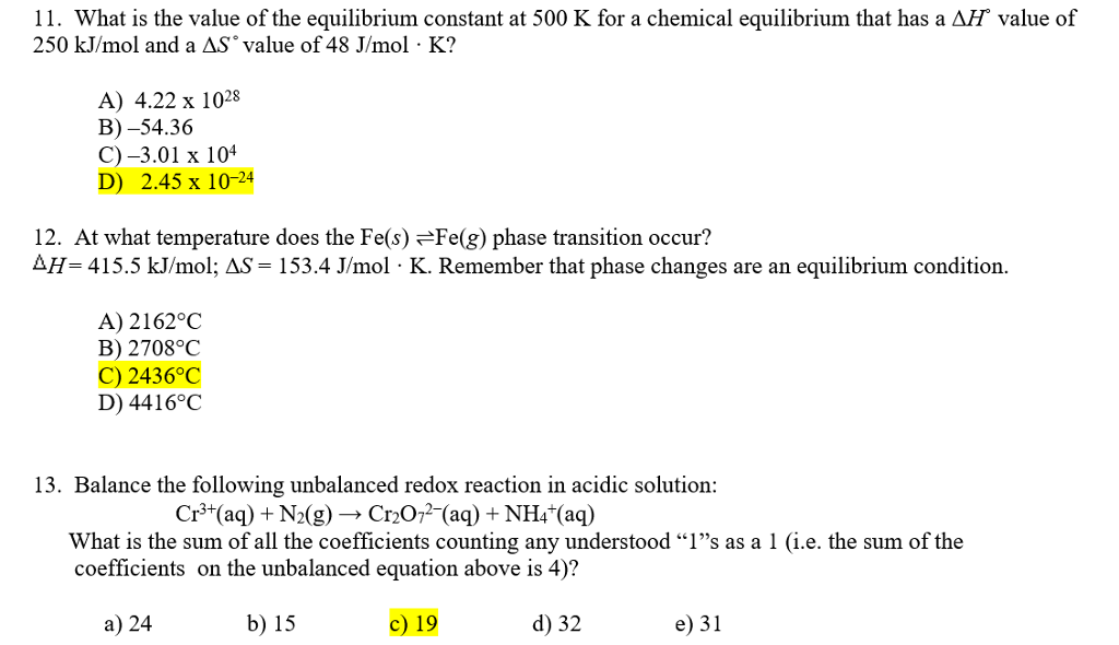 Solved: What Is The Value Of The Equilibrium Constant At 5