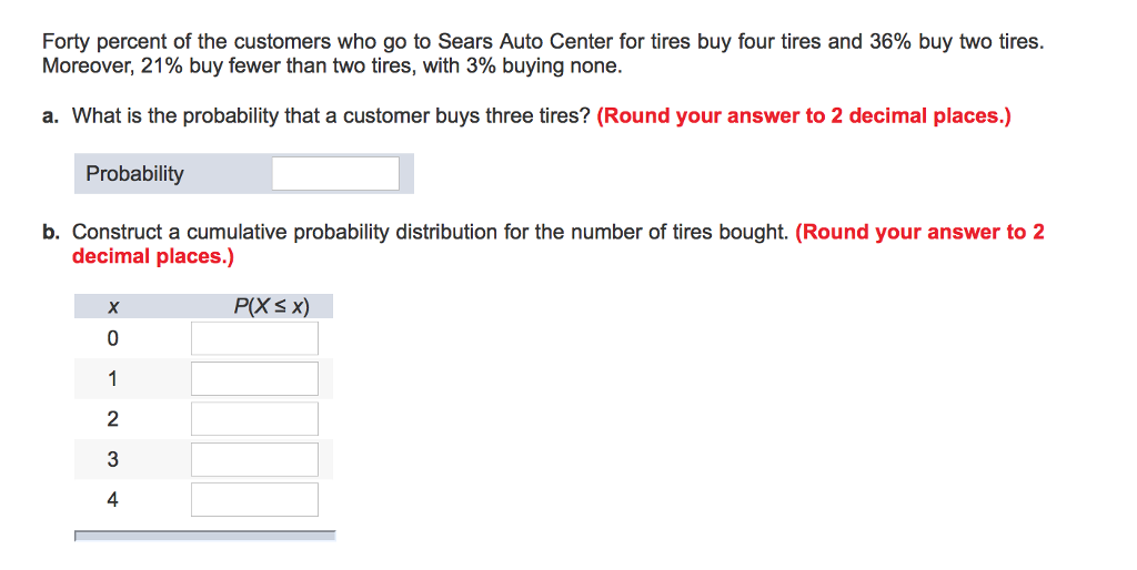 b09789ec Forty percent of the customers who go to Sears Auto Center for tires buy  four tires
