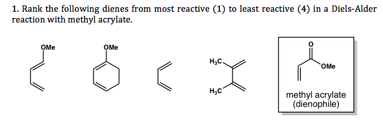 Solved 1 Rank The Following Dienes From Most Reactive 1 border=
