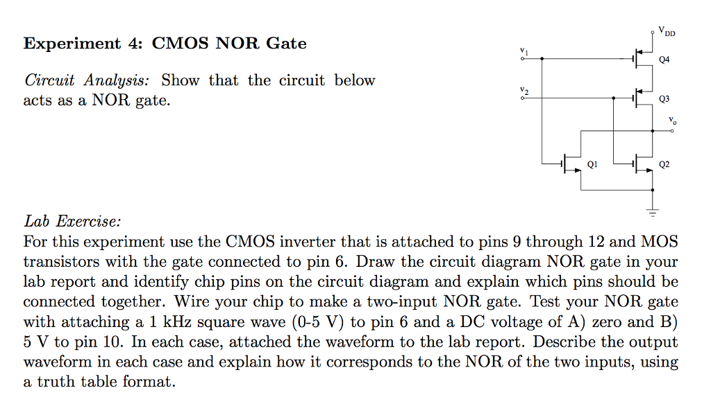 solved show that the circuit below acts as a nor gate fo rh chegg com