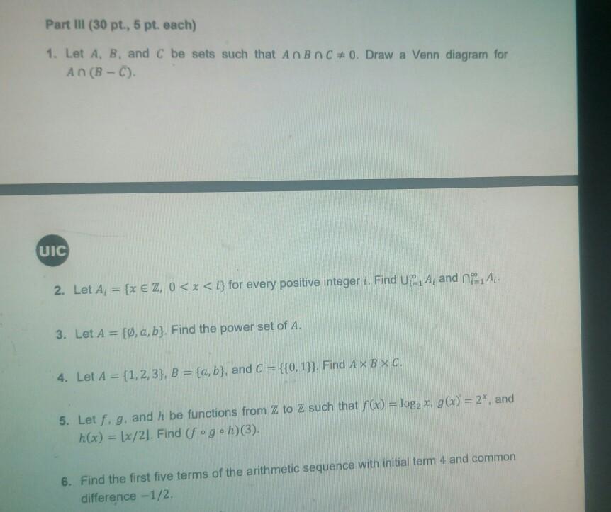Solved part iii 30 pt 5 pt each 1 let a b and c b question part iii 30 pt 5 pt each 1 let a b and c be sets such that anbn c 0 draw a venn diagram ccuart Choice Image