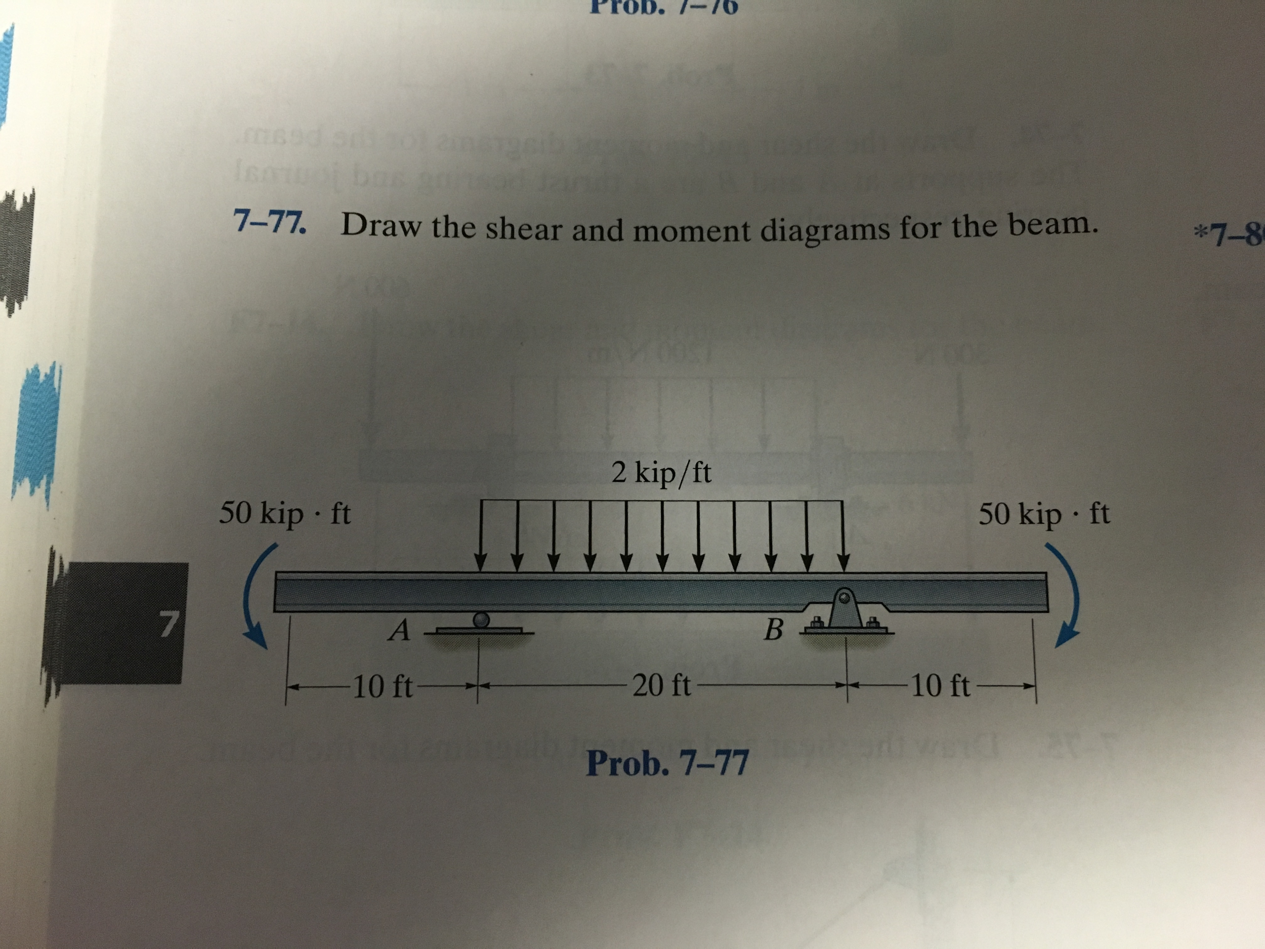 Solved 7 77 Draw The Shear And Moment Diagrams For Beam Force Bending Cheggcom Be