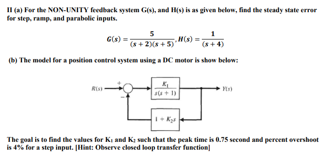 Solved: II (a) For The NON-UNITY Feedback System G(s), And