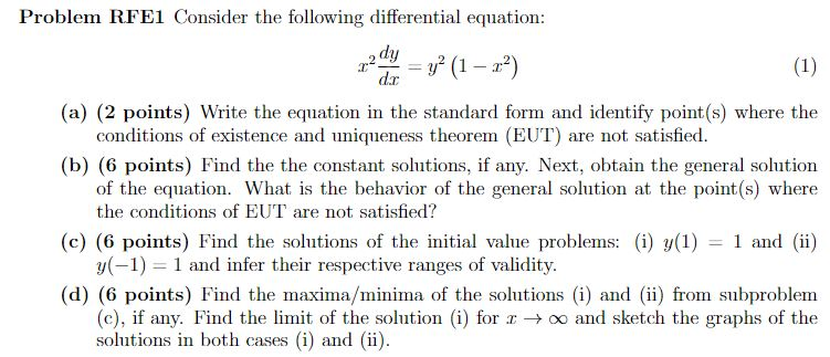 Solved Problem Rfel Consider The Following Differential E