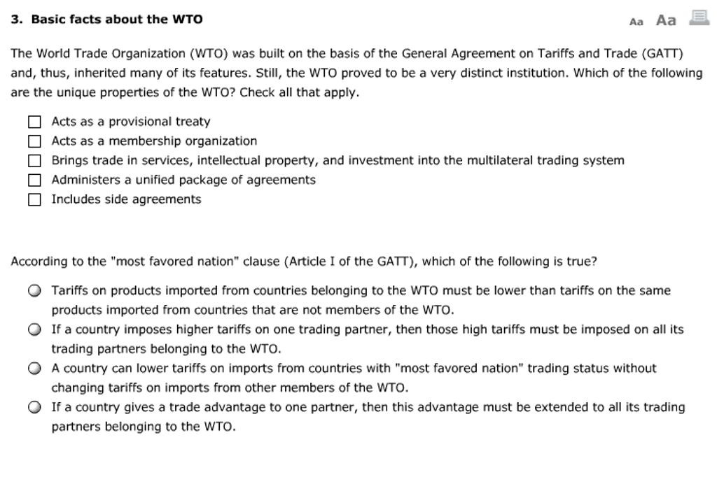 Solved Basic Facts About The Wto The World Trade Organiza